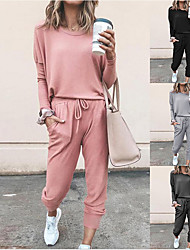 cheap -Women's Sweatsuit 2 Piece Set Black Pink Drawstring Pocket Loose Fit Minimalist Crew Neck Solid Color Cute Sport Athleisure Clothing Suit Long Sleeve Soft Oversized Comfortable Yoga Running Everyday