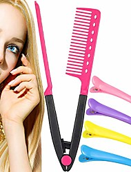 cheap -1 pack hair straightening comb with 4 pieces duckbill clip set flat iron comb hot iron comb straightener comb for great tresses (pink)
