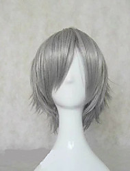 cheap -Katekyo Hitman Reborn! Hayato Gokudera Cosplay Wigs Unisex Layered Haircut 12 inch Heat Resistant Fiber Curly Dark Gray Teen Adults' Anime Wig