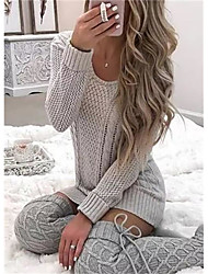 cheap -Women's Stylish Hollow Hollow Out Knitted Solid Color Plain Pullover Long Sleeve Sweater Cardigans Round Neck Deep U Fall Winter Gray