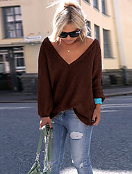 cheap -Women's Stylish Knitted Solid Colored Plain Pullover Cotton Long Sleeve Sweater Cardigans V Neck Fall Winter White Black Blue