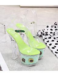 cheap -Women's Dance Shoes Pole Dancing Shoes Heel Buckle Flower Thick Heel White Purple Yellow Buckle
