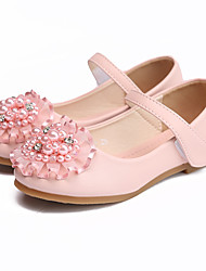 cheap -Girls' Flats Comfort / Flower Girl Shoes Microfiber Floral Little Kids(4-7ys) / Big Kids(7years +) Rhinestone / Pearl Pink / Ivory Fall / Winter / Party & Evening