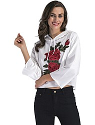 cheap -Women's Hoodie Crop Top Black White Artistic Style Embroidery Hoodie Cotton Cute Flower Sport Athleisure Hoodie Long Sleeve Oversized Comfortable Plus Size Everyday Use Daily / Winter