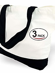 cheap -1 | 3 | 6 | 12 | 24 pack super strong large 12oz cotton canvas tote bag, reusable grocery shopping cloth bags, fashionable two-tone bags for crafts, diy your creative designs & #40;pack of 1&
