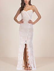 cheap -Women's A-Line Dress Maxi long Dress - Sleeveless Floral Print Lace Backless Split Summer Strapless Sexy Party Club 2020 White S M L XL