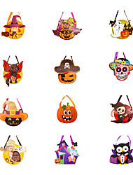 cheap -Halloween Party Toys Halloween Gift Bags Trick or Treat Halloween Candy Buckets 12 pcs Cat Skull Skeleton Pumpkin Owl Cartoon Witch with Handles Paper Kid's Adults Trick or Treat Halloween Party