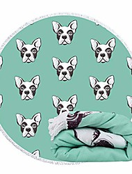 cheap -round beach towel blanket for women green bulldog microfiber large 60 inches thick tablecloth bedding throw