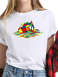 cheap -Women's Tee / T-shirt Cartoon Crew Neck Color Block Sport Athleisure T Shirt Short Sleeves Breathable Soft Comfortable Plus Size Everyday Use Exercising General Use