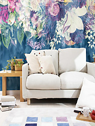 cheap -Custom Self-adhesive Mural Wallpaper Blue Background Flowers Suitable For Bedroom Living Room Cafe  Children's Room Wall Decoration Art Art Deco   Wall Cloth Room Wallcovering