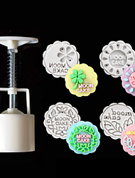 cheap -5pcs Moon cake Mold DIY Hand Press Cookie Stamps Pastry Tool Flower Maker 50g