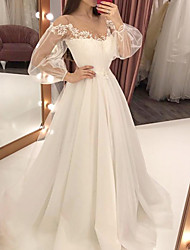 cheap -A-Line Wedding Dresses Jewel Neck Sweep / Brush Train Lace Satin Tulle Long Sleeve Formal with 2020