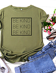 cheap -Women's Be kind T-shirt Letter Print Round Neck Tops 100% Cotton Basic Basic Top White Yellow Blushing Pink
