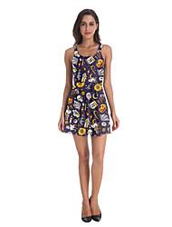 povoljno -Žene Haljina A-kroja Mini haljina - Bez rukávů Print Print Jesen Ležerne prilike Dnevno 2020 purpurna boja S M L XL