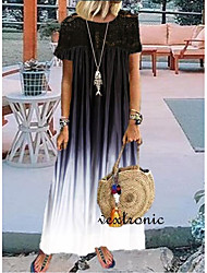 cheap -Women's A-Line Dress Maxi long Dress - Short Sleeve Color Gradient Lace Summer Casual Vacation Going out 2020 Black Red M L XL XXL XXXL