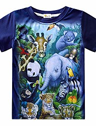 cheap -Kid's Boys' T shirt Short Sleeve Animal Cat Dinosaur zoo Children Tops Summer Chic & Modern