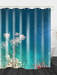 cheap -Crystal Clear Lake Water Digital Printing Shower Curtain Dandelion By The Blue Lake Shower Curtains & Hooks Modern Polyester New Design