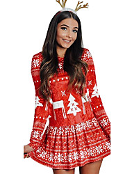 cheap -Women's A-Line Dress Short Mini Dress - Long Sleeve Floral Patchwork Print Fall Casual Hot Party 2020 Red Green S M L XL