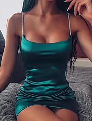 cheap -Women's A Line Dress Short Mini Dress Black Wine Fuchsia Green Sleeveless Solid Color Patchwork Summer Strapless Hot Sexy 2021 S M L XL