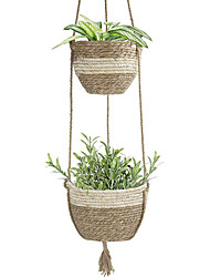 cheap -Handmade Hanging Baskets for Plants Hanging Planter Indoor Hanging Pots for Plants Outdoor Hanging Plants Basket Decorative Flower Pot Holder Seagrass Flower Plant Pots for Home Bedroom Decor