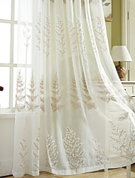 cheap -2 Panels Sheer Curtains for Living Room, Floral Leaf Embroidery Sheer Curtains for Bedroom Embroidery Window Curtains