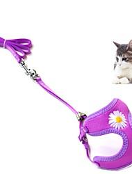 cheap -Dog Cat Harness Leash Portable Trainer Vest Escape Proof Geometric Flower Nylon Golden Retriever Japanese Spitz Beagle Bulldog Shiba Inu Shih Tzu Black Purple Red Fuchsia Pink 1 set