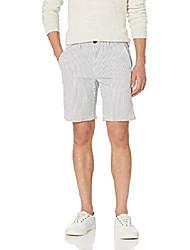 """cheap -amazon brand - men& #39;s 9"""" inseam stretch seersucker short, light blue/white stripe 40"""