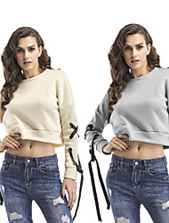 cheap -Women's Sweatshirt Pullover Sweatshirts Lace up Fashion Crop Top Crew Neck Solid Color Cute Sport Athleisure Sweatshirt Long Sleeve Oversized Comfortable Plus Size Everyday Use Causal Daily