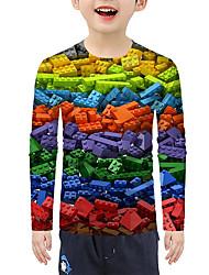 cheap -Kids Boys' T shirt Blouse Long Sleeve 3D Print Rainbow Children Tops Summer Active Basic Christmas