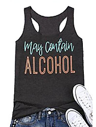 cheap -women& #39;s summer may contain alcohol sleeveless letters print funny tank tops vest & #40;yellow, s& #41;
