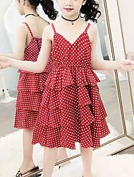 cheap -Kids Girls' Cute Black & White Red Fantastic Beasts Polka Dot Lace Layered Ruched Sleeveless Midi Dress Red