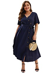 cheap -Women's A-Line Dress Midi Dress - Short Sleeve Solid Color Summer Plus Size Elegant 2020 Navy Blue XL XXL 3XL 4XL
