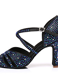 cheap -Women's Latin Shoes Heel Slim High Heel PU Leather Sparkling Glitter Buckle Black / Blue