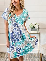 cheap -Women's A Line Dress Knee Length Dress Blue Short Sleeve Print Print Summer V Neck Casual 2021 S M L XL