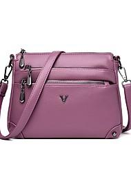 cheap -Women's Bags PU Leather Crossbody Bag Zipper Daily Outdoor MessengerBag Wine Black Purple Red