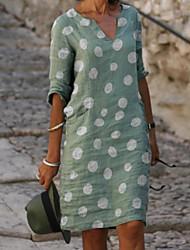cheap -Women's Shift Dress Knee Length Dress Gray Green Red Light Blue 3/4 Length Sleeve Polka Dot Print Spring Summer V Neck Casual Holiday Loose 2021 S M L XL XXL 3XL 4XL 5XL