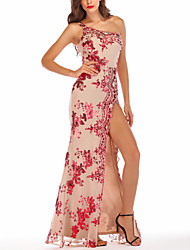 cheap -Women's A-Line Dress Maxi long Dress - Sleeveless Floral Backless Embroidered Split Summer One Shoulder Sexy Party Club 2020 Black Red Gold S M L XL