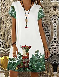 cheap -Women's Shift Dress Knee Length Dress - Short Sleeve Animal Print Summer V Neck Casual 2020 White S M L XL XXL 3XL