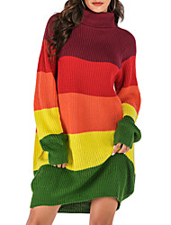 cheap -Women's Color Block Pullover Sweater Dress Cotton Long Sleeve Loose Sweater Cardigans Turtleneck Fall Winter Rainbow
