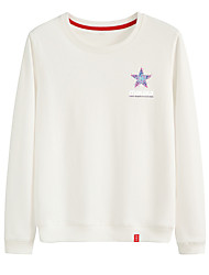 cheap -Women's Sweatshirt White Sweatshirt Pullover Sweatshirts Black White Pink Artistic Style Crew Neck Cute Stars Letter Printed Sport Athleisure Pullover Long Sleeve Warm Soft Comfortable Everyday Use