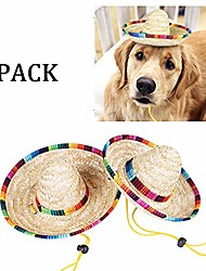cheap -2pack handcrafted pet straw hat with adjustable chin strap, lovely sun hat funny mexican party costume party photo prop dog sombrero hat for dog/puppy/cat/kitty