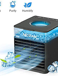 cheap -nexfan 4-in-1 air conditioner - mini usb space cooler - evaporative cooler air humidifier with led lights - 3 wind speed desktop fan suitable for home/office/outdoor (black)