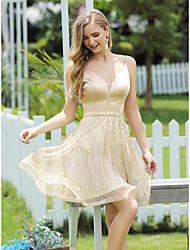 cheap -A-Line Elegant Glittering Homecoming Cocktail Party Dress V Neck Sleeveless Short / Mini Satin with Sash / Ribbon Sequin 2020