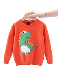 cheap -Kids Boys' Basic Horse Dinosaur Animal Print Long Sleeve Sweater & Cardigan Orange