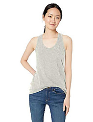 cheap -amazon brand - women& #39;s lived-in cotton slub racerback tank top, light heather grey, large