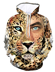 cheap -Men's Pullover Hoodie Sweatshirt Graphic Leopard Animal Daily Going out 3D Print Casual Hoodies Sweatshirts  Brown