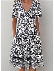 cheap -Women's A Line Dress Knee Length Dress Black Short Sleeve Print Print Summer V Neck Hot Casual 2021 M L XL XXL 3XL 4XL 5XL / Cotton / Cotton