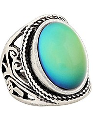 cheap -women's handmade unique pattern antique sterling silver plating oval stone color change mood ring