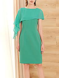 cheap -Sheath / Column Elegant Empire Homecoming Cocktail Party Dress Jewel Neck Short Sleeve Knee Length Chiffon with Sleek 2020