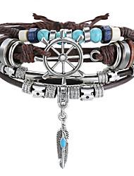 cheap -Women's Wrap Bracelet Bracelet Layered Leaf Vintage European Ethnic Fashion Leather Bracelet Jewelry Brown For Gift Beach Festival